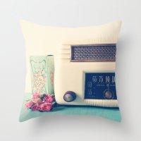radio Throw Pillows featuring Retro Radio by Olivia Joy StClaire