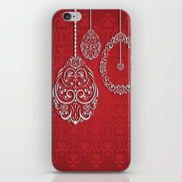 Silver lace hanging eggs on vibrant red background iPhone Skin