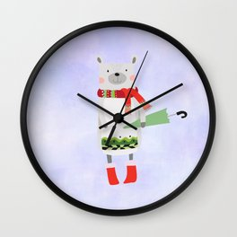 Cute Bear in Winter Wear Holding Umbrella Wall Clock