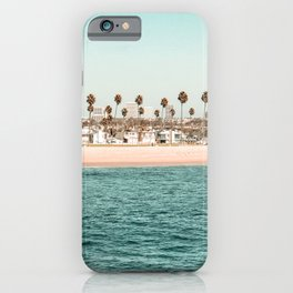 Vintage Newport Beach // Circle Crop Cut Out Photography Ocean Palm Trees Teal Tropical Summer Sky iPhone Case
