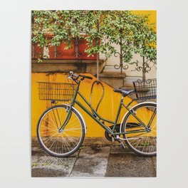 Bicycle Parked at Wall, Lucca, Italy Poster