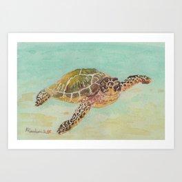 Sea Turtle Watercolor Art Print