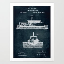 1879 Towing canal-boats patent Art Print