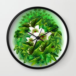 Passion Flowers on Tropical Jungle Wall Clock
