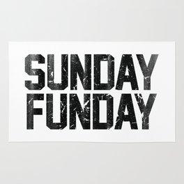 Sunday Funday Dirty Vintage Varsity Typography Print Rug