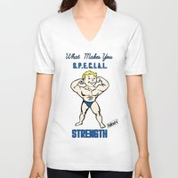 fallout 3 V-neck T-shirts featuring Strength S.P.E.C.I.A.L. Fallout 4 by sgrunfo