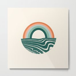 Nowhere - 70s rainbow, sea, ocean, happy, art Metal Print