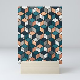 Copper, Marble and Concrete Cubes with Blue Mini Art Print