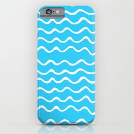 Simple aqua and white handrawn waves - for your summer iPhone Case