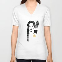 katniss V-neck T-shirts featuring Iconic Katniss by Arne AKA Ratscape