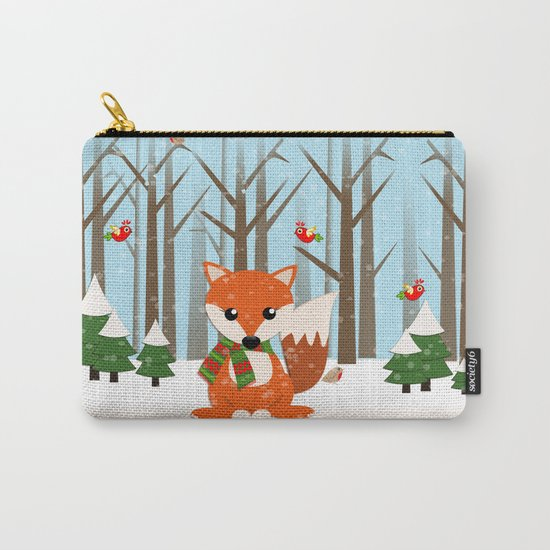 Cute winter fox with a red / green scarf, Carry-All Pouch