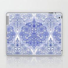 Happy Place Doodle in Cornflower Blue, White & Grey Laptop & iPad Skin