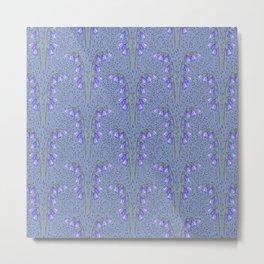 Bluebell Field Dusty Blue Metal Print