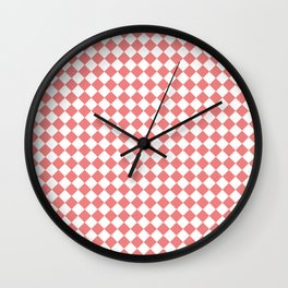 Small Diamonds - White and Coral Pink Wall Clock