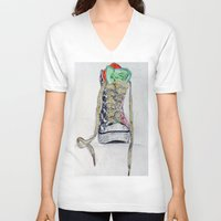 sneaker V-neck T-shirts featuring Sneaker by H & J