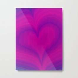 Valentine's Day Purple Violet Heart Pattern Metal Print