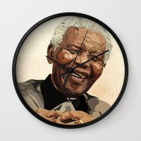 mandela Wall Clocks featuring ICON: Mandela by Diavu'