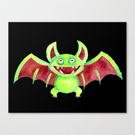 Watercolor Art | Whimsy Bat (Black Background) Canvas Print