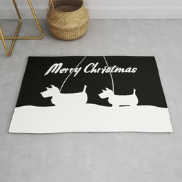Westie White Christmas Rug