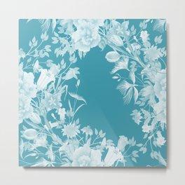 Stardust Blue Lagoon Floral Motif Metal Print