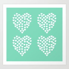 Hearts Heart x2 Mint Art Print