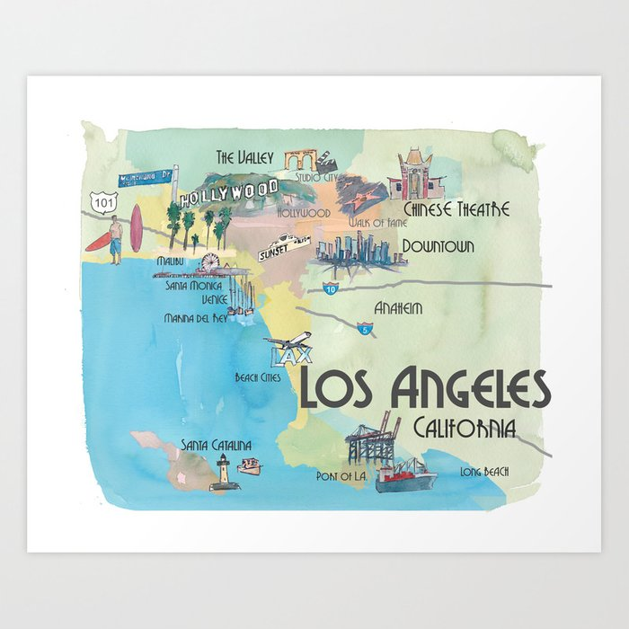 Greater Los Angeles Fine Art Print Retro Vintage Map with Touristic on map greater tacoma, map long beach, map hollywood, map bay area, map greater nashville, map bangkok tourist attractions, map inland empire, map greater denver, greater toronto area, map san francisco, map new york, map greater boston, map anaheim, map santa monica, atlanta metropolitan area, map beverly hills, inland empire, los angeles metropolitan area, dallas/fort worth metroplex, map santa barbara, seoul national capital area, map san gabriel valley, baltimore–washington metropolitan area, new york metropolitan area, greater houston, map salt lake city, map south orange county, map minneapolis, greater tokyo area, map silicon valley, los angeles county, san diego metropolitan area, orange county,