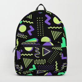 Geometrical retro lime green neon purple 80's abstract pattern Backpack