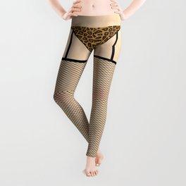 Fishnet Stockings and Leopard Skin Knickers Pale Skin Leggings