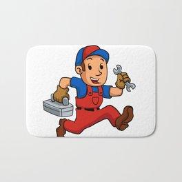 handyman Running With A Toolbox Bath Mat
