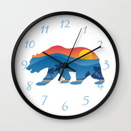 California bear with superimposed mountains and beach shoreline Wall Clock
