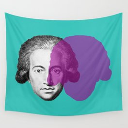 Goethe - teal and purple portrait Wall Tapestry