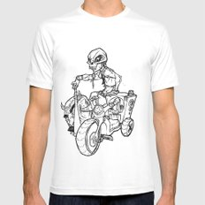 Skull Boy  on a Tricycle  White MEDIUM Mens Fitted Tee
