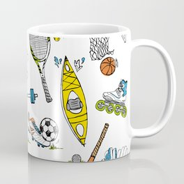 Sports illustrated - black and white drawing color accents Coffee Mug