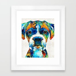 Colorful Boxer Dog Art By Sharon Cummings Framed Art Print