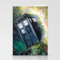 dr who Stationery Cards featuring Dr. Who Tardis by Mercenary Art Studio