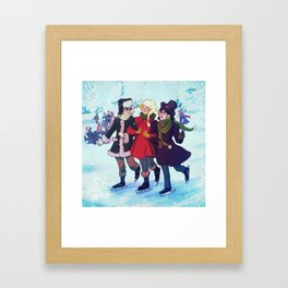Enjolras, Combeferre and Courfeyrac Ice Skating Framed Art Print
