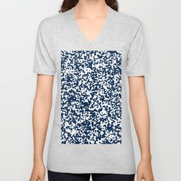 Small Spots - White and Oxford Blue Unisex V-Neck
