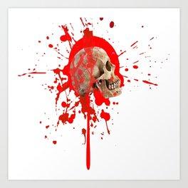 WHITE RED EXPLODING BLOODY SKULL HALLOWEEN  ART Art Print