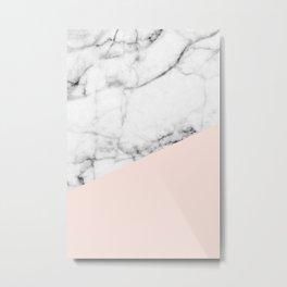Real White marble Half Salmon Pink Metal Print