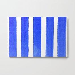 Watercolor Blue Stripes Metal Print