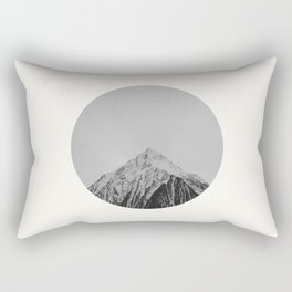 Mid Century Modern Round Circle Photo Grey Minimalist Monochrome Snow Mountain Peak Rectangular Pillow
