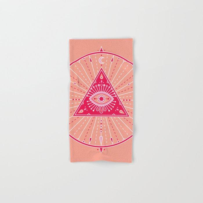 Evil Eye Mandala – Pink Hand & Bath Towel