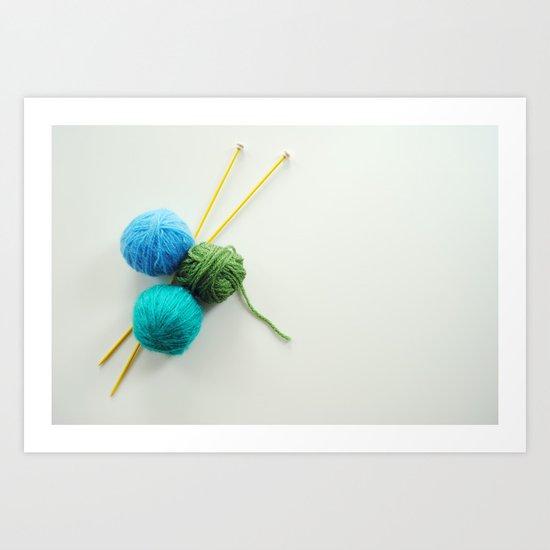 Knitting in threes Art Print