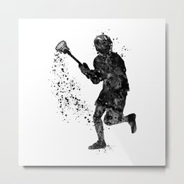 Boy Lacrosse Black Watercolor Sports Art Metal Print