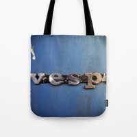 vespa Tote Bags featuring vespa by rhythmmess
