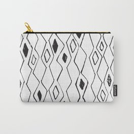 Linocut pattern minimal black and white basic home decor minimalist Carry-All Pouch