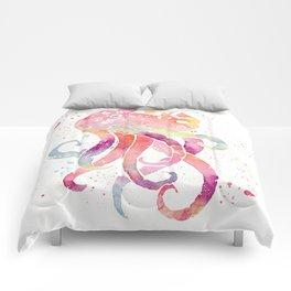 Octopus - Watercolor Splatter Comforters