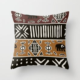 African mud cloth with elephants Throw Pillow