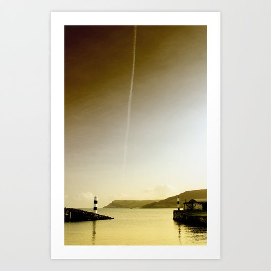 Plane trails in the sunset Art Print