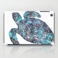 sea turtle iPad Cases featuring Sea Turtle by LebensART